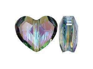 Swarovski Crystal, #5741 Love Heart Bead 12mm, 2 Pieces, Crystal Paradise Shine
