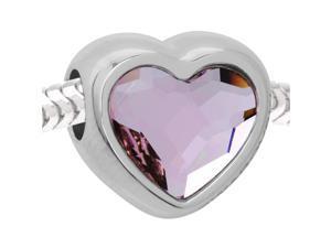 Swarovski Crystal BeCharmed, Large Hole Heart Bead 14mm, 1 Piece, Rosaline