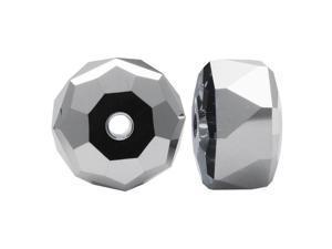 Swarovski Crystal, #5045 Rondelle Beads 6mm, 6 Pieces, Crystal Light Chrome
