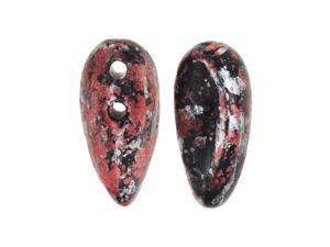 Preciosa Czech Glass, 2-Hole Chilli Beads 11x4mm, 40 Pieces, Tweedy Red