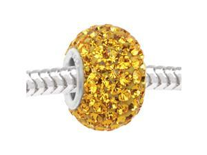 Sterling Silver Sparkle Bead Yellow Crystal In Ferido Euro Style Large Hole