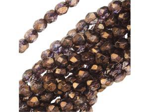 Czech Fire Polished Glass Beads 4mm Round Lumi Coated - Taupe (50)