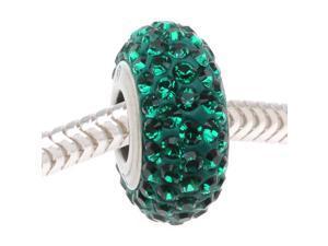 Swarovski Crystal BeCharmed Pave Slim Euro Style Lg Hole Bead 1 Pc Emerald