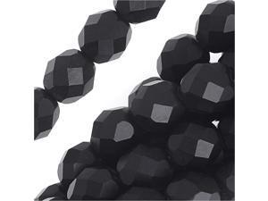 Czech Fire Polished Glass Beads 8mm Round Matte Jet Black