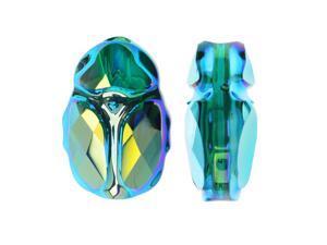 Swarovski Crystal, #5728 Scarab Bead 12mm, 1 Piece, Emerald AB 2X