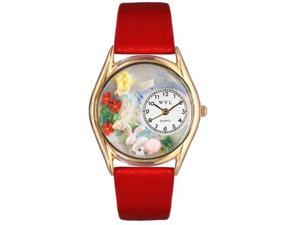 Garden Fairy Red Leather And Goldtone Watch #C1211004