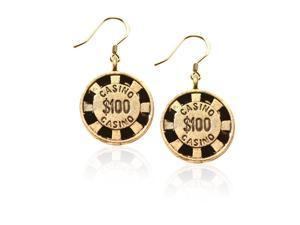 Casino Chip Charm Earrings in Gold