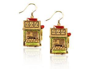 Slot Machine Charm Earrings in Gold