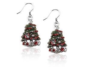 Christmas Tree Charm Earrings in Silver