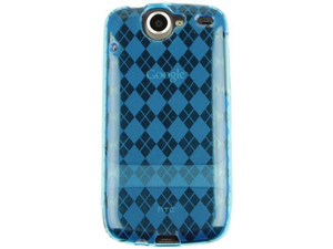 Flexible Wrap On Phone Crystal TPU Case Cover Blue Checkers For Nexus One