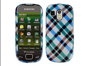 Two Piece Plastic Phone Design Cover Case Blue Plaid For Samsung Caliber R850