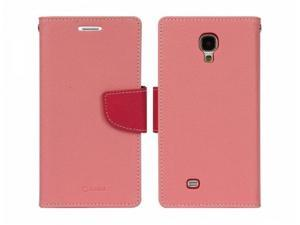 Diary Cotton Candy Pink Faux Leather with TPU Phone Protector Case for Samsung Galaxy S4