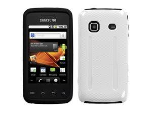 Fusion Dual Layer Hybrid Solid Ivory White/Black Phone Protector Case for Samsung Galaxy Prevail M820