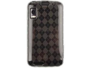 Flexible Plastic TPU Phone Protector Cover Case Smoke Checkered For Motorola ATRIX 4G