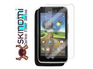 Skinomi Carbon Fiber Black Phone Skin+Screen Protector for Motorola Atrix HD