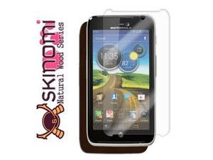 Skinomi Phone Skin Dark Wood Cover+Clear Screen Protector for Motorola Atrix HD