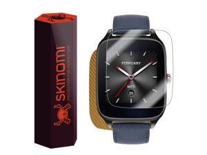 Skinomi® TechSkin - Asus ZenWatch 2 45mm Screen Protector + Gold Carbon Fiber Full Body Skin with Free Lifetime Replacement / Front & Back Wrap Clear Film / Ultra HD and Anti-Bubble Invisible Shield