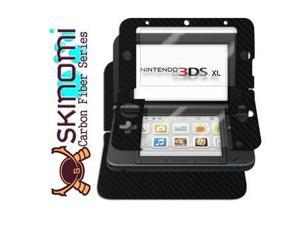 Skinomi Carbon Fiber Black Cover Skin+Screen Protector Cover for Nintendo 3DS XL