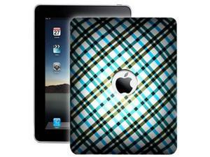 One Piece Plastic Design Tablet Case Cover Blue Plaid For Apple iPad