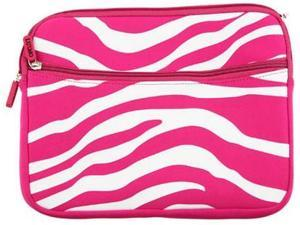 Laptop Carrying Pouch Horizontal Hot Pink  / White Zebra Protector Case for Netbook 10.2