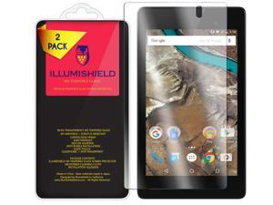 Google Nexus 7 Screen Protector [2-Pack], iLLumiShield HD Clear Tempered Ballistic Glass Screen Protector for Google Nexus 7 (2016) 9H Hardness Anti-Bubble Shield - Lifetime Warranty