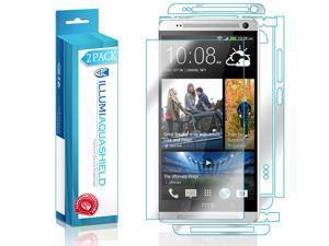 HTC One Max Screen Protector + Back Cover (2-Pack), ILLUMI AquaShield Full Coverage Back and Front Screen Protector for HTC One Max HD Clear Anti-Bubble Film - Lifetime Warranty