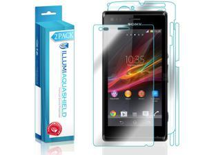Sony Xperia M Screen Protector + Back Cover (2-Pack), ILLUMI AquaShield Full Coverage Back and Front Screen Protector for Sony Xperia M HD Clear Anti-Bubble Film - Lifetime Warranty