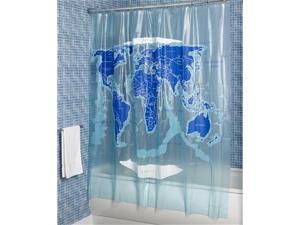 Croydex AE580815YW World Map Shower Curtain, Clear Blue