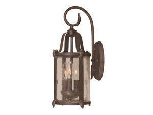 World Imports 1692-89 Old Sturbridge Clct 3-Lgt Outdoor Wall Lantern, Bronze