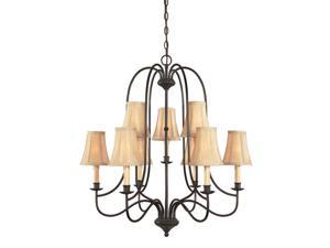 World Imports 3749-34 Brondy Clct Two Tier 9-Lgt Chandelier, Aged Ebony
