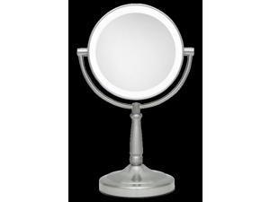 Zadro LED Lighted 1X/10X Portable Round Vanity Mirror in Satin Nickel