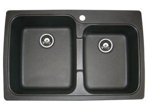 Astracast Offset Dual Mount Granite 33X22X8 1-Hole Double Bowl Kitchen Sink In Metallic Black