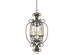 World Imports 5057-63 Sheffield Clct 6-Lgt Foyer Chandelier, French Bronze