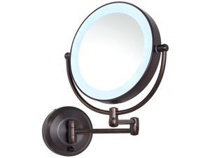 Zadro LED Lighted 10X/1X Round Wall Mount Mirror in Satin Nickel