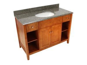 "Foremost TRIAQD4922 Exhibit 49"" W x 22"" D Vanity in Rich Cinnamon w/ Quadro Granite Vanity Top in Quadro"