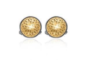 Phillip Gavriel Collection - 18K Gold & Sterling Silver Round Byzantine Cufflinks