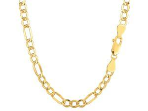 """14k Yellow Gold Hollow Figaro Chain Necklace, 4.6mm, 18"""""""