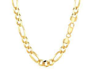 "14k Yellow Gold Classic Figaro Chain Bracelet, 6.0mm, 7"""