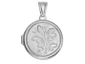 Sterling Silver With Rhodium Finish Round Locket With Flower Pattern & Etching Background - 25 mm