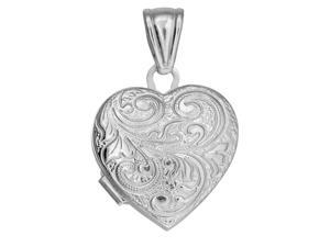 Sterling Silver With Rhodium Finish Heart Locket Pendant With Bushy Vine Line Pattern - 20 mm