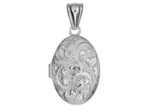 Sterling Silver With Rhodium Finish Oval Locket Pendant With Bushy Vine Line Pattern - 20 x 25 mm