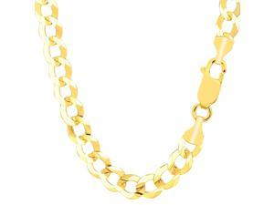 10k Yellow Gold Comfort Curb Chain Necklace, 8.2mm, 22""