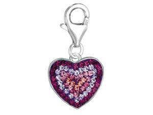 Sterling Silver Crystal Clip On Heart Charm