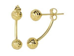 14k Yellow Hammered Finish Gold Front And Back Double Ball Belly Ring Style Earrings, 6mm