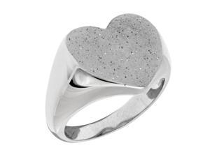 Sterling Silver  Heart Design Stardust Finish Ring
