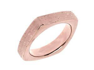 Sterling Silver With Rose Plating Square Look Design Stardust Finish Ring