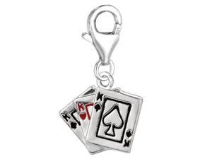 Sterling Silver And Enamel Clip On Deck Of Cards Charm