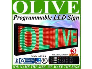 "Olive LED Signs 3 Color p15, 12"" x 50"" (RGY) programmable Scrolling Message board - Industrial Grade Business Tools"