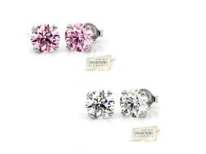 Sight Holder Diamonds 2.00 CTW Pink & Clear Swarovski Elements in Sterling Silver Stud Earrings (2 Pairs)