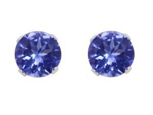 Sight Holder Diamonds .75 CTW Genuine Tanzanite Sterling Silver Earrings